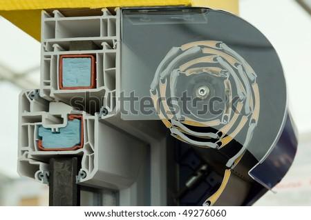 Cutaway model of a window roller blind
