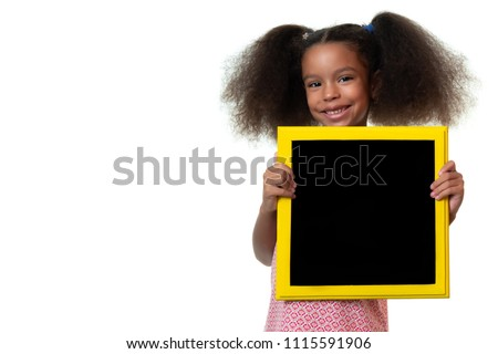 Cute african american small girl holding a blackboard with space for text - Isolated on white