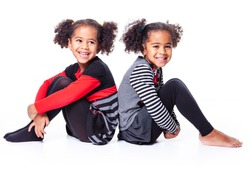 cute african american twin on white background