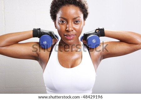 Cute afro-american and her workout routine
