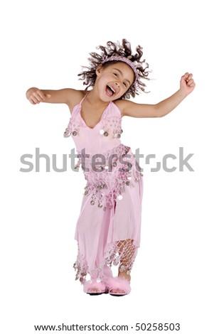 Cute afro american girl dancing samba like crazy