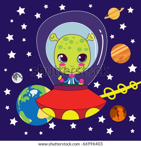 Cute Alien flying on his fast space ship through our solar system