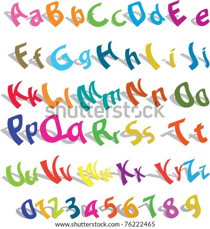 Cute alphabet with numeric over white