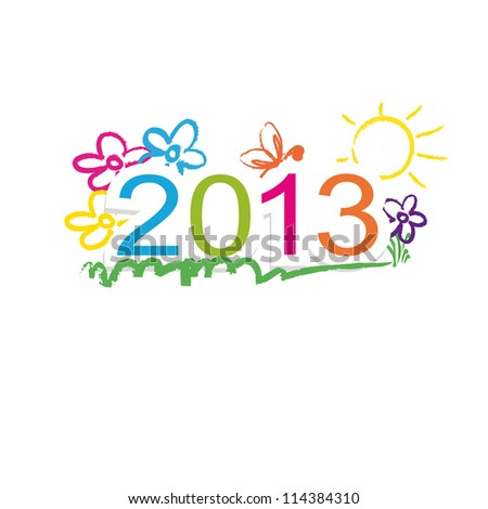 Cute and colorful calendar on New Year 2013
