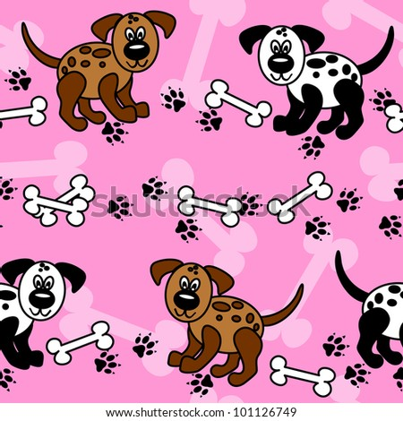 Cute and fun cartoon dogs with paw prints and bones over girly pink that can be used as borders or full wallpaper pattern, perfect for pet related articles.