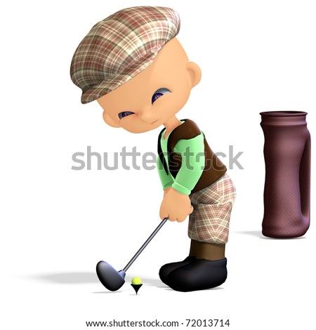 cute and funny cartoon golf player. 3D rendering with clipping path ...