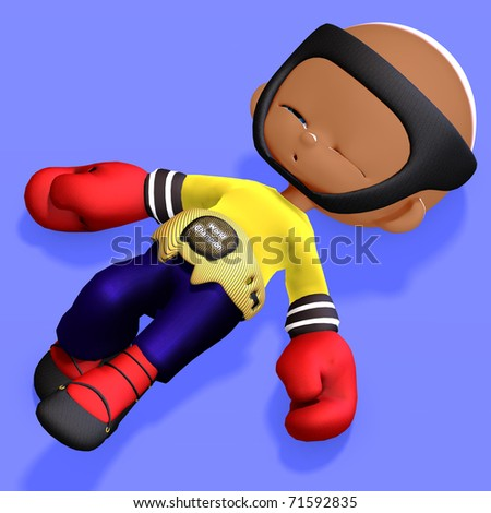 cute and funny childish cartoon boxer. 3D rendering with clipping path and shadow over white