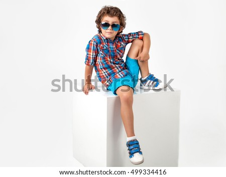 cute and funny little boy in...