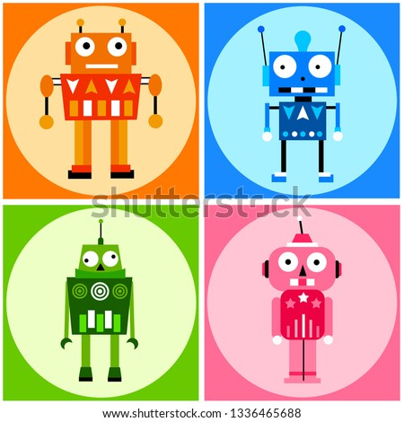 Cute and funny robots in several bright colors