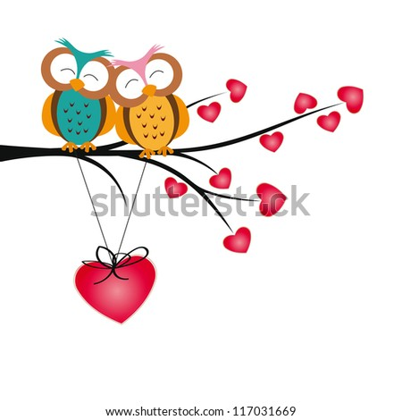 Cute and  happy owls on tree with hearts