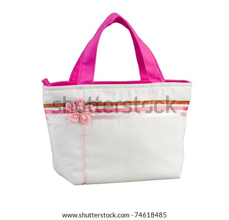 Cute and simply design woman's handbag for relaxing and shopping isolated on white
