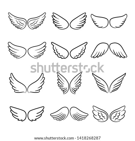 Cute angel wings. Cartoon angels wing set isolated on white background, angelic heaven flight decoration elements illustration