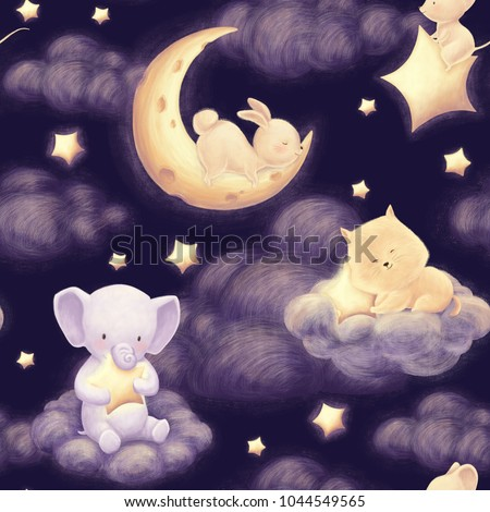 Cute animal and night sky seamless pattern with rabbut, cat and elephant. Dark clouds, moon and stars. Beautiful baby bedclothes. Kids hand drawn illustration background