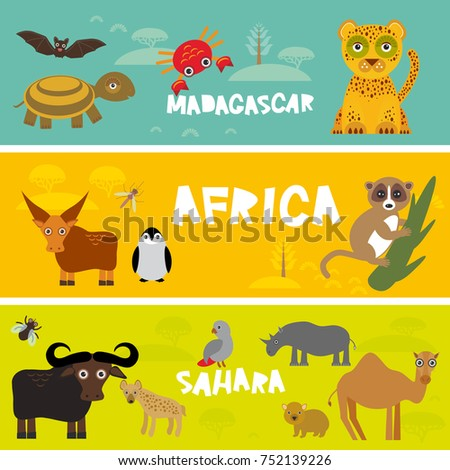 Cute animals set, leopard turtle crab penguin lemur bull hippo hyena parrot tsetse fly crab camel kids background African animals, Africa, Madagascar, Sahara Desert bright colorful banner.