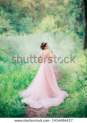 cute anime princess with open bare back to camera, slender charming lady in long light pink peach dress to floor, royal charm of kind girl with diadem, fabulous idea of sewing fashionable prom gown