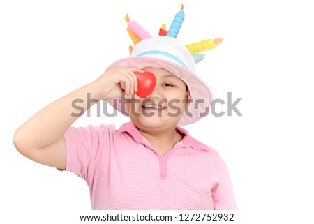 Cute asian boy play little red heart isolated on white background, love and care concept #1272752932