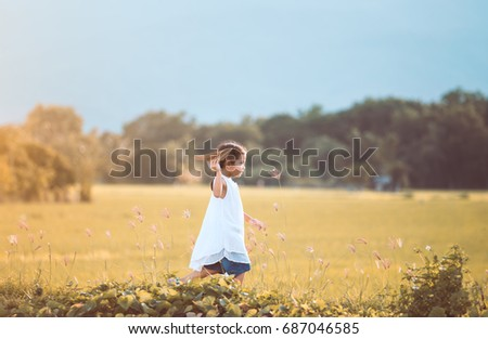 cute asian child girl running...