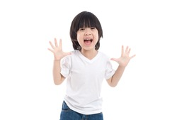 Cute Asian child  is suprise and so happy about it on white background isolated