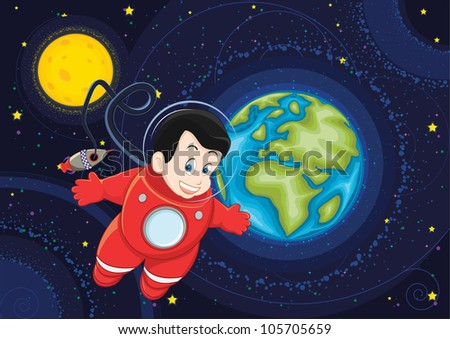 Cute astronaut flying in space illustration