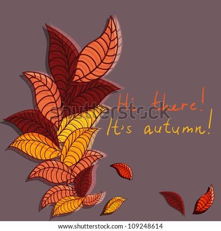 cute autumn greeting card, raster