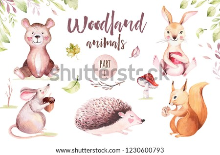 Cute baby animal nursery mouse, rabbit and bear isolated illustration for children. Watercolor boho forest drawing squirrel, watercolour, hedgehog image Perfect for nursery posters, pattern
