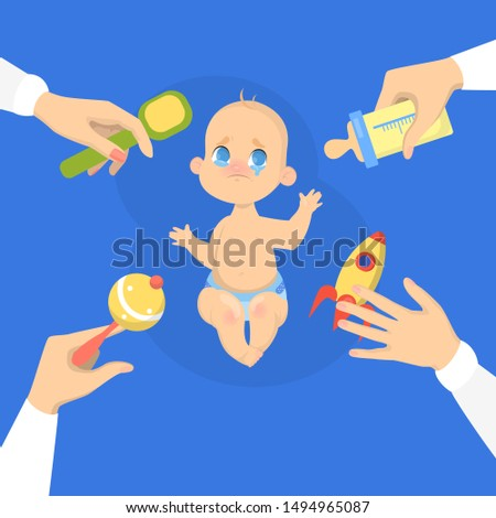 Cute baby boy cry loud. Sad child with arms around. Face emotion with tears. Isolated illustration in cartoon style