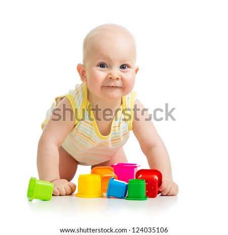 Cute baby boy isolated over white