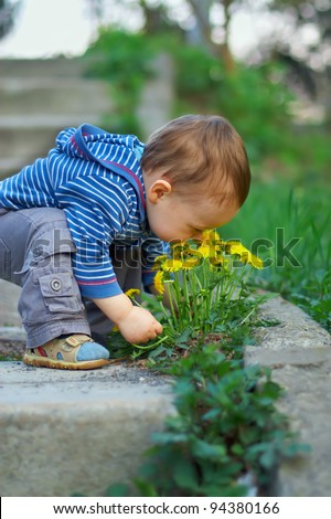 cute baby boy sniffing dandelion flowers in spring park - stock photo