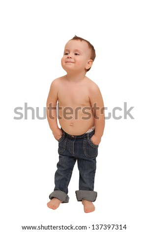 d3e69bd95c5 Cute baby boy wearing jeans. Isolated on white. Studio shot. #137397314