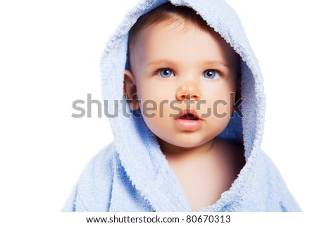Cute baby boy with blue eyes isolated on white background - stock photo
