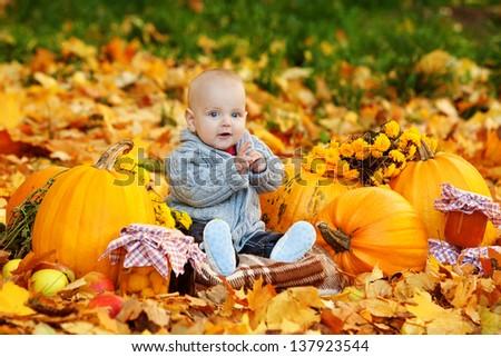 Cute baby boy with pumpkins in autumn garden