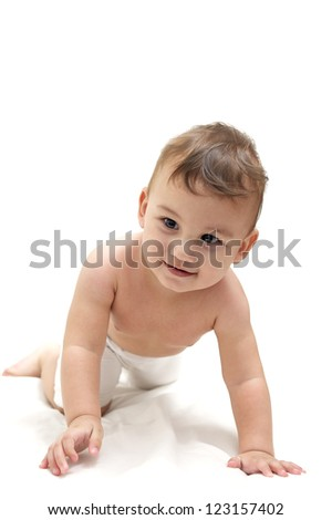 Cute baby crawl on a towel