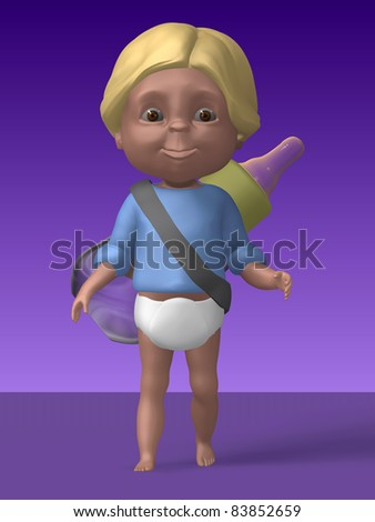 Cute Baby 3d Illustration