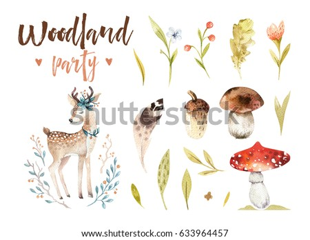 Cute baby deer animal nursery isolated illustration for children. Watercolor boho forest drawing, watercolour woodland image Perfect for nursery posters, postcard, postcard