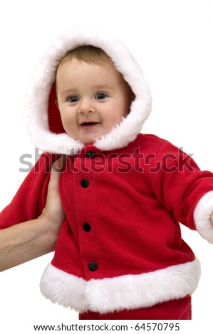 Cute Baby Dressed up for First Christmas.