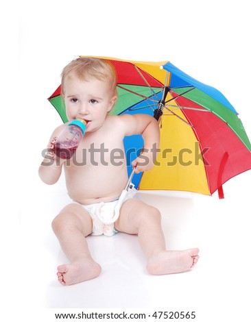 Cute baby eating, holding umbrella, isolated