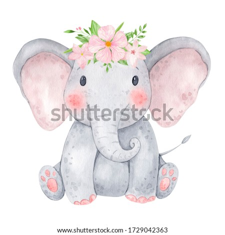 Cute baby elephant watercolor illustration. Isolated on white background. African baby animal for baby shower, nursery decorations, birthday invitations, postera, greeting card, fabric.Baby girl.