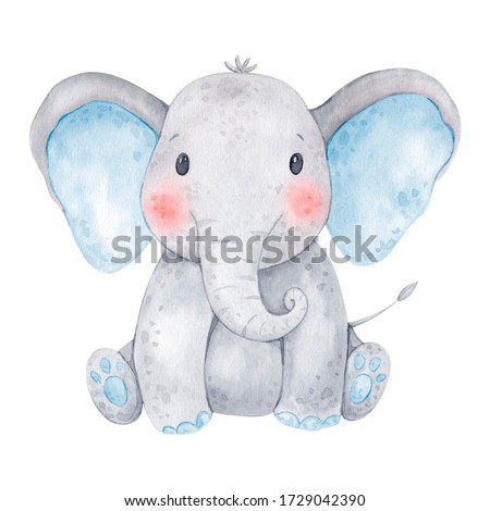 Cute baby elephant watercolor illustration. Isolated on white background. African baby animal for baby shower, nursery decorations, birthday invitations, postera, greeting card, fabric.Baby boy.