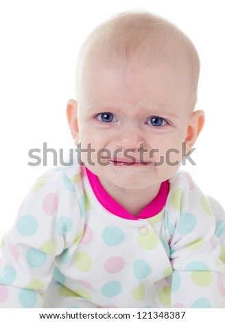 cute baby girl crying on white background
