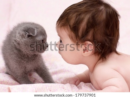 cute baby girl with cat pet