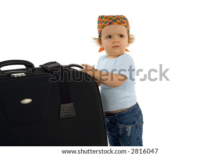 Cute baby girl with huge luggage - asking for help (isolated, with copy space)