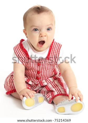 Cute baby girl yawning