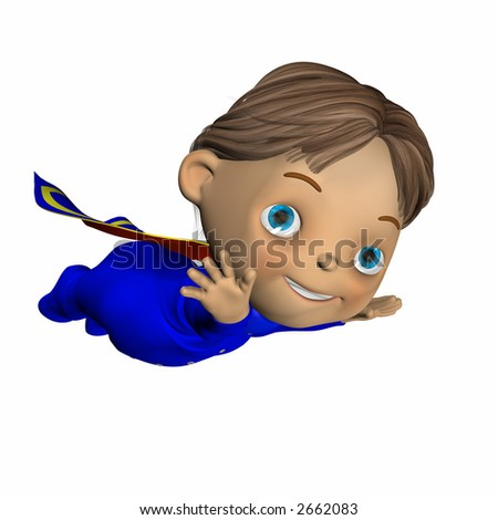 Cute baby in a blue, red, and yellow super hero cape on flying with his arms out.