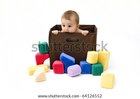 Cute Baby in a Box, Isolated on White Background.