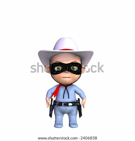 Cute baby in a cowboy outfit. Isolated on a white background.