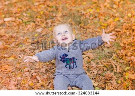 Cute baby in autumn leaves. First autumn