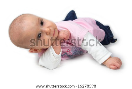 Cute baby in thinking pose