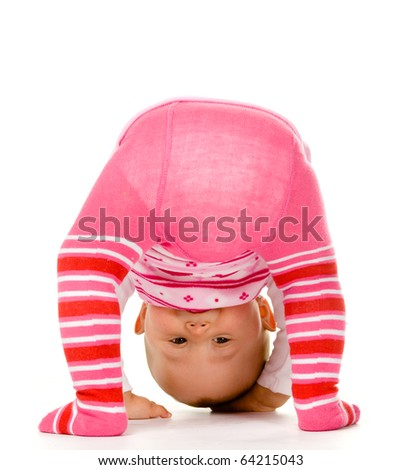 cute baby, isolated on a white background - stock photo