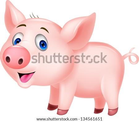 Cute baby pig cartoon #134561651