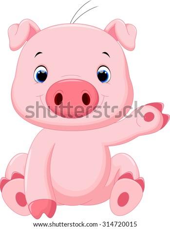 Cute baby pig cartoon #314720015